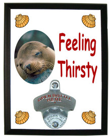 Sea Lion Feeling Thirsty Bottle Opener Plaque