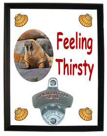 Walrus Feeling Thirsty Bottle Opener Plaque