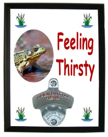 Green Frog Feeling Thirsty Bottle Opener Plaque