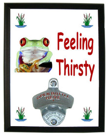 Tree Frog Feeling Thirsty Bottle Opener Plaque