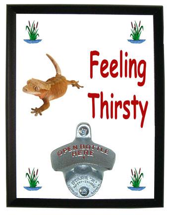 Gecko Feeling Thirsty Bottle Opener Plaque