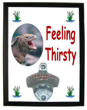 Iguana Feeling Thirsty Bottle Opener Plaque