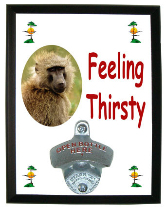 Baboon Feeling Thirsty Bottle Opener Plaque
