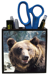Bear Wood Pencil Holder