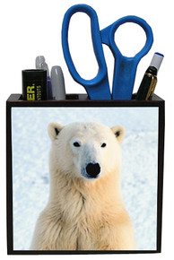 Polar Bear Wood Pencil Holder