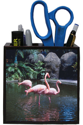 Flamingo Wooden Pencil Holder
