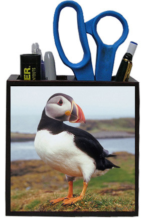 Atlantic Puffin Wooden Pencil Holder