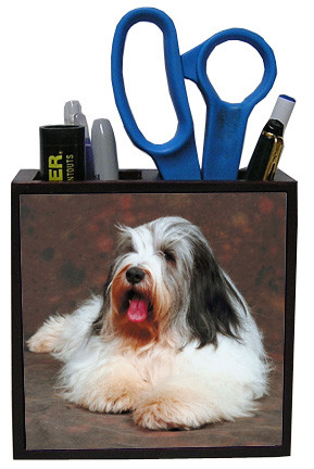 Bearded Collie Wooden Pencil Holder