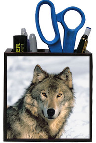 Wolf Wooden Pencil Holder