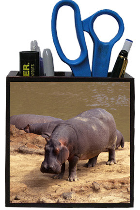 Hippo Wooden Pencil Holder