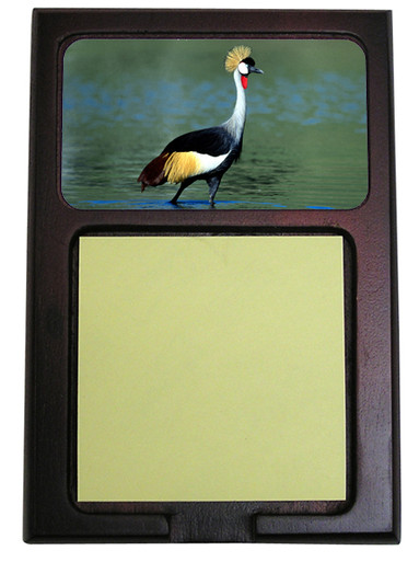 Crowned Crane Wooden Sticky Note Holder