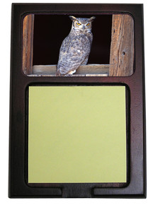 Great Horned Owl Wooden Sticky Note Holder