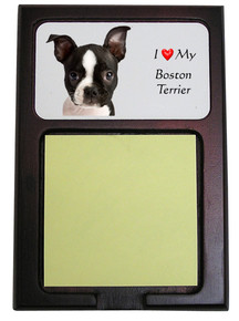Boston Terrier Wooden Sticky Note Holder