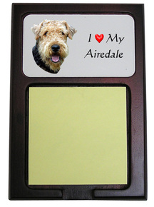 Airedale Wooden Sticky Note Holder