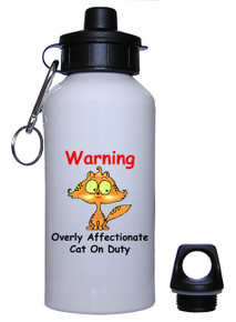 Affectionate Cat On Duty: Water Bottle