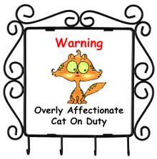 Affectionate Cat On Duty: Metal Key Holder