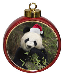 Panda Bear Ceramic Red Drum Christmas Ornament