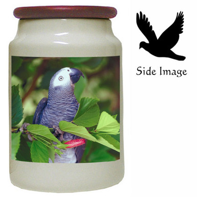 African Grey Parrot Canister Jar