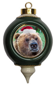 Bear Ceramic Victorian Green and Gold Christmas Ornament