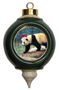 Panda Bear Ceramic Victorian Green and Gold Christmas Ornament