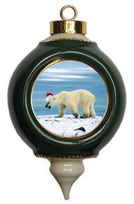 Polar Bear Ceramic Victorian Green and Gold Christmas Ornament