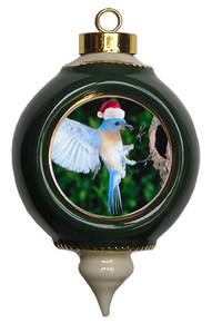 Bluebird Victorian Green and Gold Christmas Ornament
