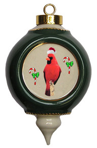 Cardinal Victorian Green and Gold Christmas Ornament