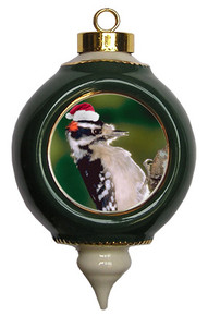 Downey Woodpecker Victorian Green and Gold Christmas Ornament