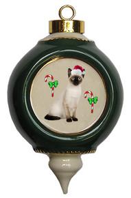 Siamese Cat Victorian Green & Gold Christmas Ornament
