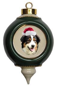 Australian Shepherd Victorian Green & Gold Christmas Ornament