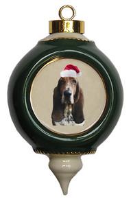 Basset Hound Victorian Green & Gold Christmas Ornament