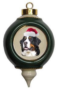 Bernese Mountain Dog Victorian Green & Gold Christmas Ornament