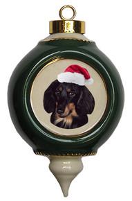 Dachshund Victorian Green & Gold Christmas Ornament