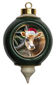 Cow Victorian Green and Gold Christmas Ornament