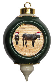 Donkey Victorian Green and Gold Christmas Ornament