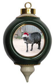 Goat Victorian Green and Gold Christmas Ornament