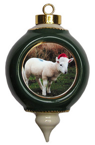Lamb Victorian Green and Gold Christmas Ornament
