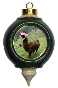 Llama Victorian Green and Gold Christmas Ornament