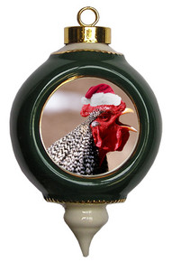 Rooster Victorian Green and Gold Christmas Ornament
