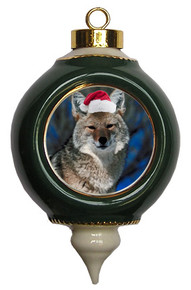 Coyote Victorian Green and Gold Christmas Ornament