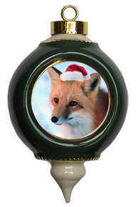 Fox Victorian Green and Gold Christmas Ornament