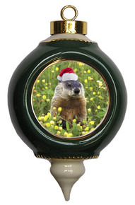 Groundhog Victorian Green and Gold Christmas Ornament