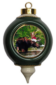 Moose Victorian Green and Gold Christmas Ornament