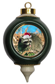 Raccoon Victorian Green and Gold Christmas Ornament