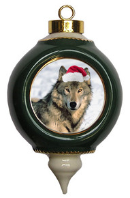 Wolf Victorian Green and Gold Christmas Ornament