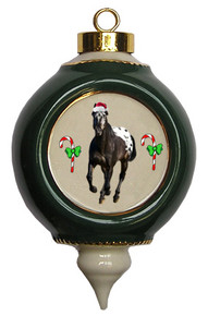 Appaloosa Victorian Green and Gold Christmas Ornament