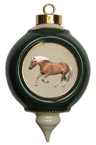 Haflinger Victorian Green and Gold Christmas Ornament