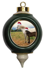 Horse Victorian Green and Gold Christmas Ornament