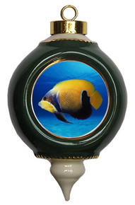 Blue Girdled Angelfish Victorian Green and Gold Christmas Ornament