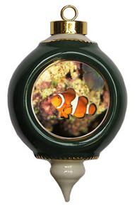 Clownfish Victorian Green and Gold Christmas Ornament
